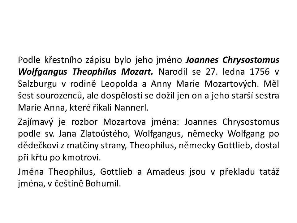 Podle křestního zápisu bylo jeho jméno Joannes Chrysostomus Wolfgangus Theophilus Mozart. Narodil se 27. ledna 1756 v Salzburgu v rodině Leopolda a An