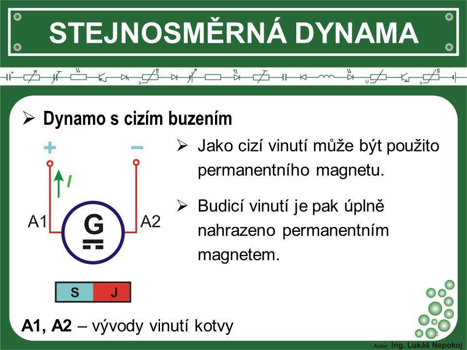 STEJNOSMĚRNÁ DYNAMA 4  Dynamo s cizím buzením  Jako cizí vinutí může být použito permanentního magnetu.  Budicí vinutí je pak úplně nahrazeno perma