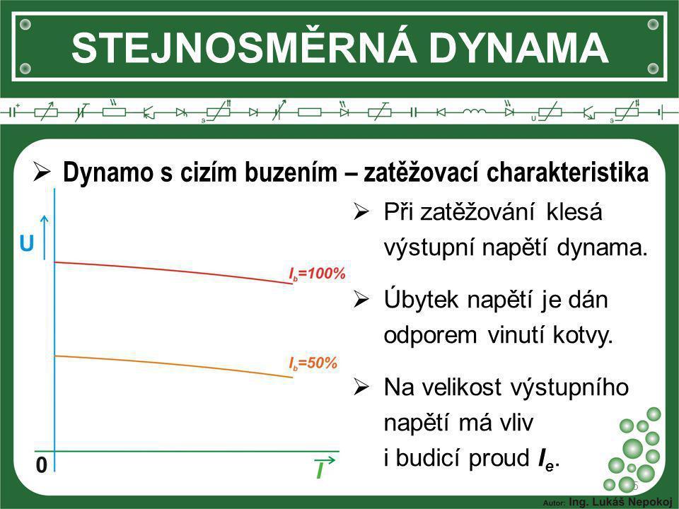 STEJNOSMĚRNÁ DYNAMA 5  Dynamo s cizím buzením – zatěžovací charakteristika  Při zatěžování klesá výstupní napětí dynama.  Úbytek napětí je dán odpo