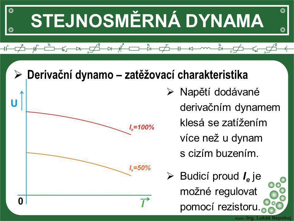STEJNOSMĚRNÁ DYNAMA 8  Derivační dynamo – zatěžovací charakteristika  Napětí dodávané derivačním dynamem klesá se zatížením více než u dynam s cizím