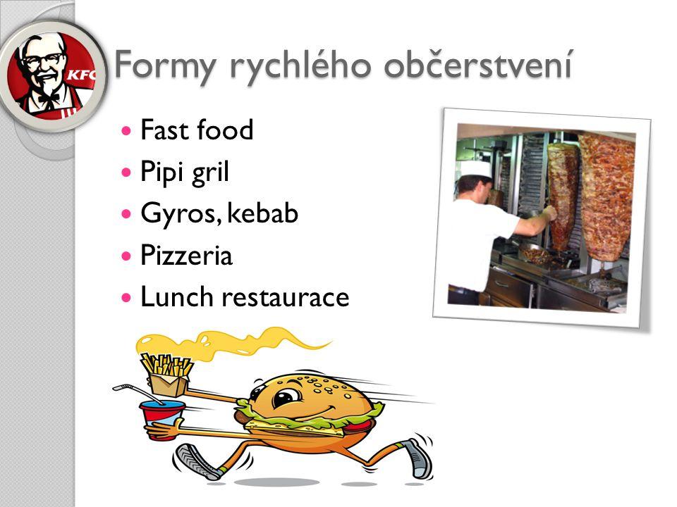 Formy rychlého občerstvení  Fast food  Pipi gril  Gyros, kebab  Pizzeria  Lunch restaurace