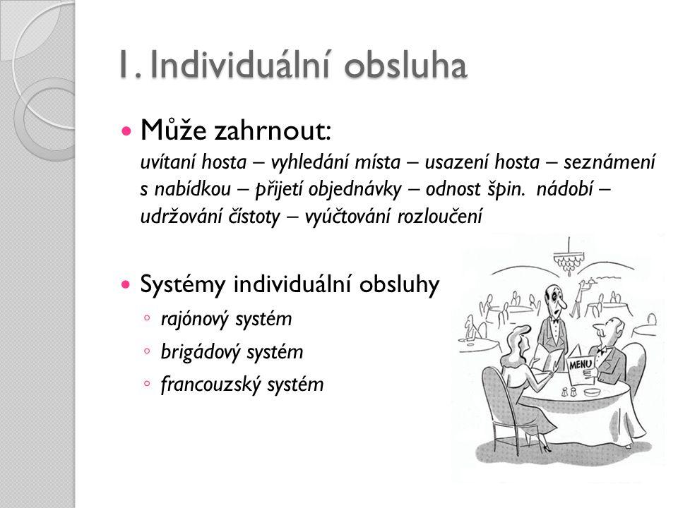 1. Individuální obsluha  Může zahrnout: uvítaní hosta – vyhledání místa – usazení hosta – seznámení s nabídkou – přijetí objednávky – odnost špin. ná