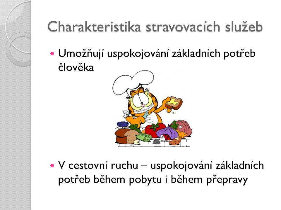 Charakteristika stravovacích služeb  Umožňují uspokojování základních potřeb člověka  V cestovní ruchu – uspokojování základních potřeb během pobytu