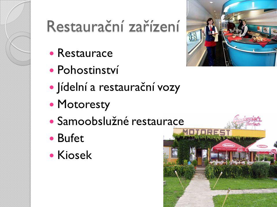 Restaurační zařízení  Restaurace  Pohostinství  Jídelní a restaurační vozy  Motoresty  Samoobslužné restaurace  Bufet  Kiosek