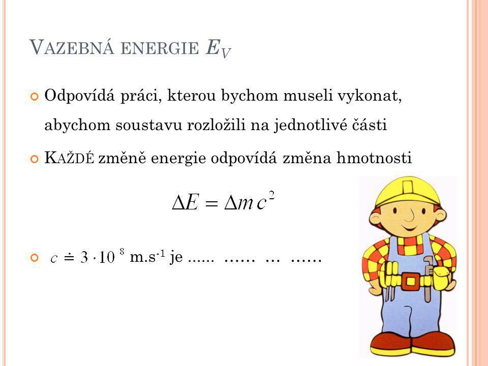J AK FUNGUJE Vazebná energie soustavy EV > 0 •Soustava je stabilní •Abychom ji rozložili, musíme vykonat práci •Po rozložení je součet hmotností částí > původní hmotnost •Složíme-li je zpátky, hmotnost poklesne a uvolní se energie Vazebná energie soustavy EV < 0 •Soustava je nestabilní •Při rozpadu na části se uvolňuje energie •Po rozpadu je součet hmotností částí < původní hmotnost •Pro složení zpět musíme konat práci, dodat energii