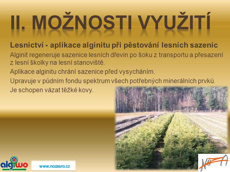 Lesnictví - aplikace alginitu při pěstování lesních sazenic Alginit regeneruje sazenice lesních dřevin po šoku z transportu a přesazení z lesní školky