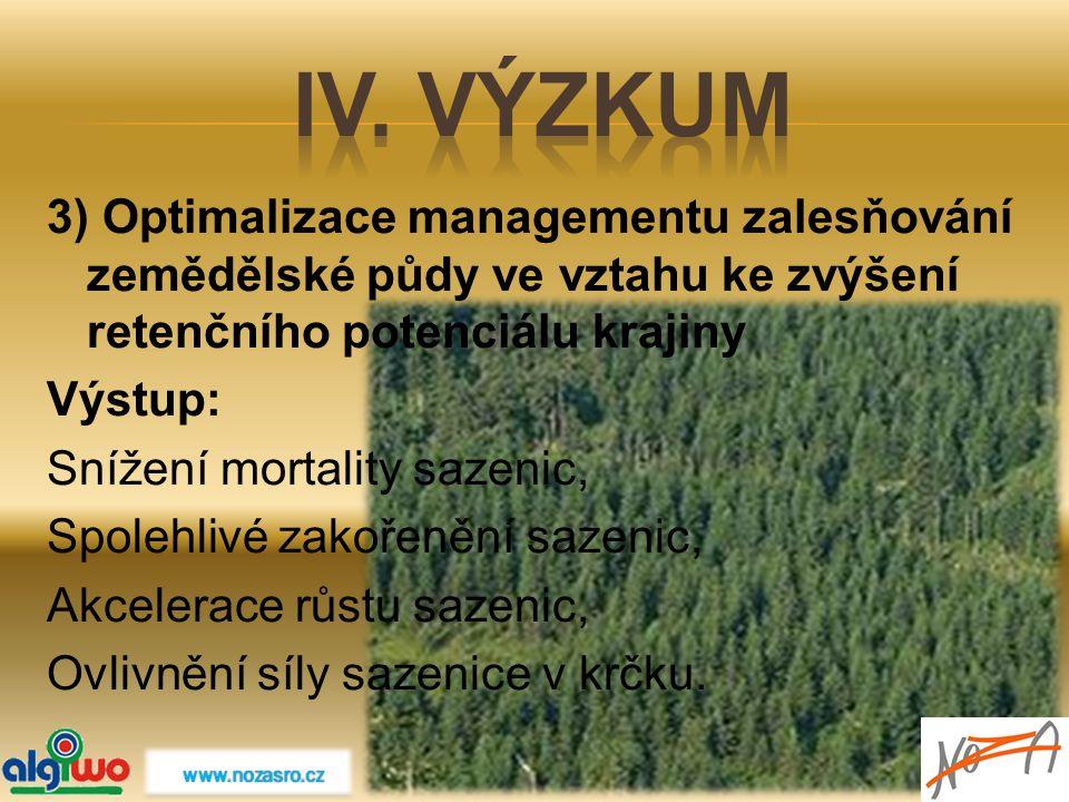 3) Optimalizace managementu zalesňování zemědělské půdy ve vztahu ke zvýšení retenčního potenciálu krajiny Výstup: Snížení mortality sazenic, Spolehli
