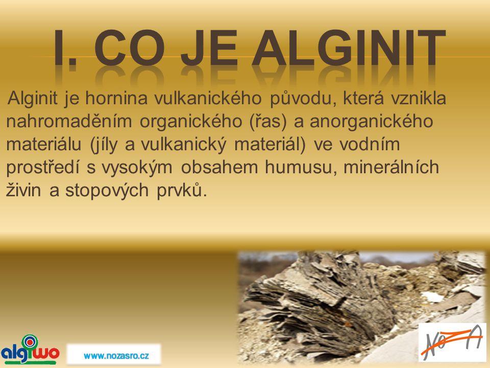 Alginit je hornina vulkanického původu, která vznikla nahromaděním organického (řas) a anorganického materiálu (jíly a vulkanický materiál) ve vodním