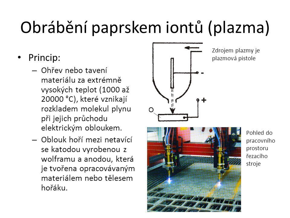 Obrábění paprskem iontů (plazma) • Princip: – Ohřev nebo tavení materiálu za extrémně vysokých teplot (1000 až 20000 °C), které vznikají rozkladem molekul plynu při jejich průchodu elektrickým obloukem.