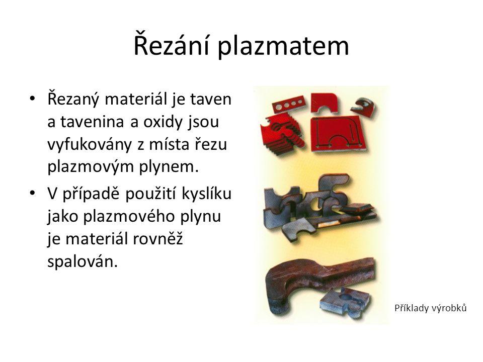 Řezání plazmatem • Řezaný materiál je taven a tavenina a oxidy jsou vyfukovány z místa řezu plazmovým plynem.