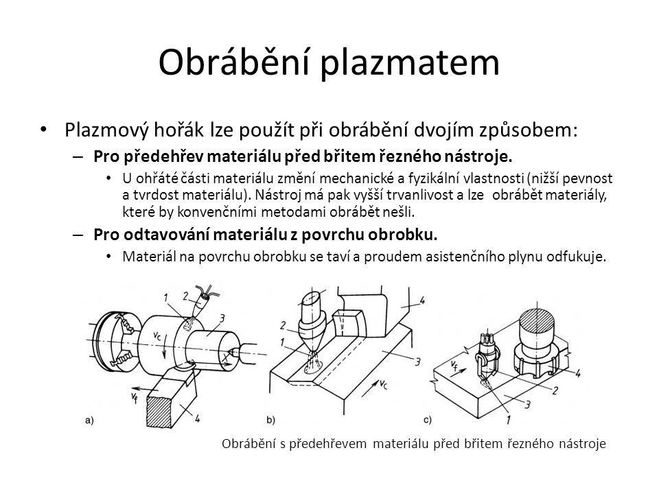Obrábění plazmatem • Plazmový hořák lze použít při obrábění dvojím způsobem: – Pro předehřev materiálu před břitem řezného nástroje.