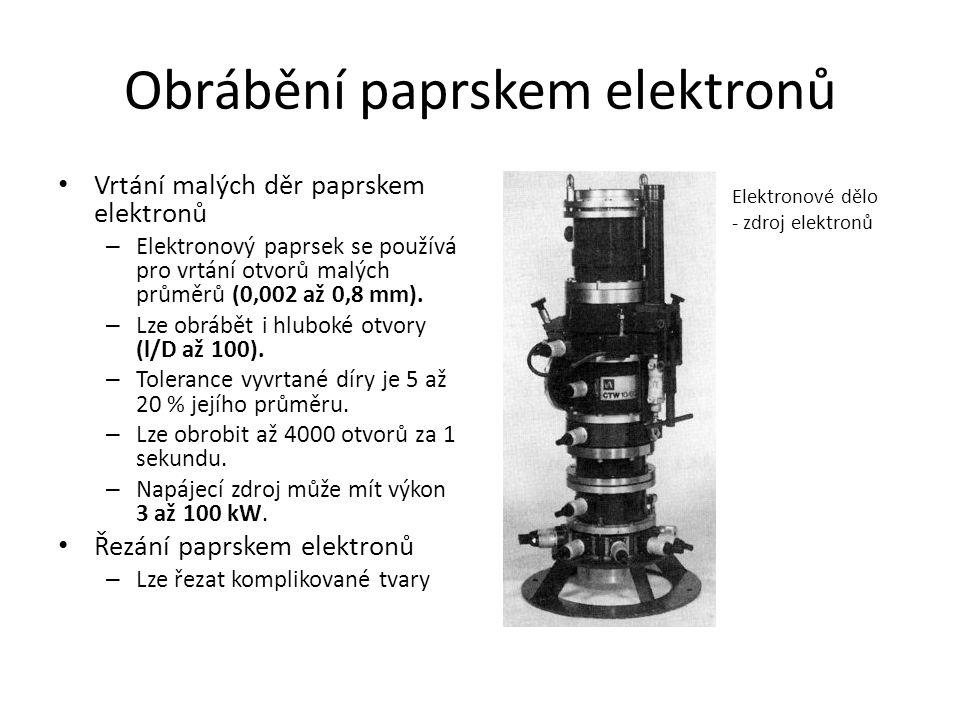 Obrábění paprskem elektronů • Vrtání malých děr paprskem elektronů – Elektronový paprsek se používá pro vrtání otvorů malých průměrů (0,002 až 0,8 mm).