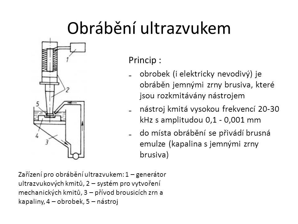 Obrábění ultrazvukem Princip : ₋obrobek (i elektricky nevodivý) je obráběn jemnými zrny brusiva, které jsou rozkmitávány nástrojem ₋nástroj kmitá vysokou frekvencí 20-30 kHz s amplitudou 0,1 - 0,001 mm ₋do místa obrábění se přivádí brusná emulze (kapalina s jemnými zrny brusiva) Zařízení pro obrábění ultrazvukem: 1 – generátor ultrazvukových kmitů, 2 – systém pro vytvoření mechanických kmitů, 3 – přívod brousicích zrn a kapaliny, 4 – obrobek, 5 – nástroj