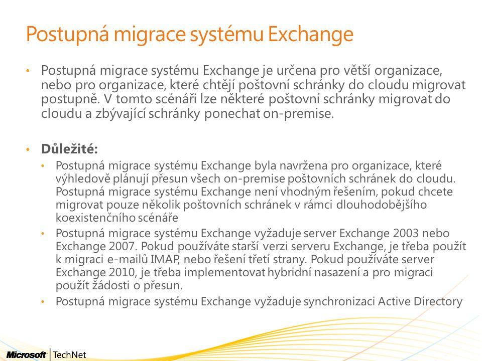 Postupná migrace systému Exchange • Postupná migrace systému Exchange je určena pro větší organizace, nebo pro organizace, které chtějí poštovní schránky do cloudu migrovat postupně.
