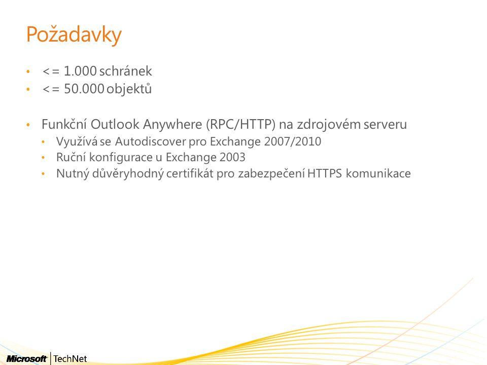 Požadavky • <= 1.000 schránek • <= 50.000 objektů • Funkční Outlook Anywhere (RPC/HTTP) na zdrojovém serveru • Využívá se Autodiscover pro Exchange 2007/2010 • Ruční konfigurace u Exchange 2003 • Nutný důvěryhodný certifikát pro zabezpečení HTTPS komunikace