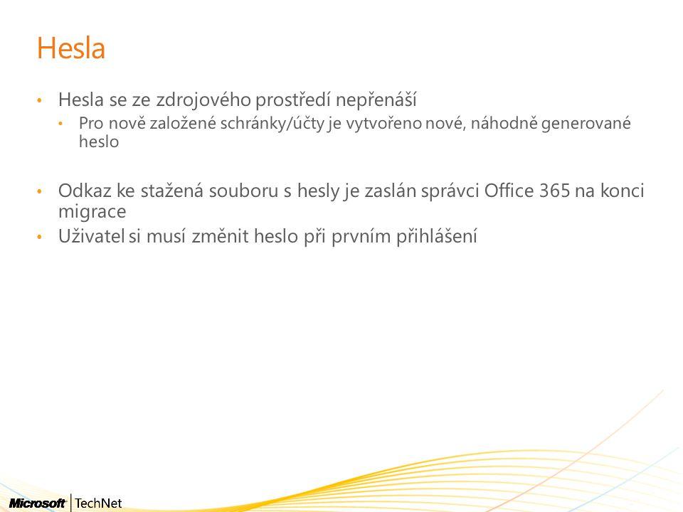 Hesla • Hesla se ze zdrojového prostředí nepřenáší • Pro nově založené schránky/účty je vytvořeno nové, náhodně generované heslo • Odkaz ke stažená souboru s hesly je zaslán správci Office 365 na konci migrace • Uživatel si musí změnit heslo při prvním přihlášení