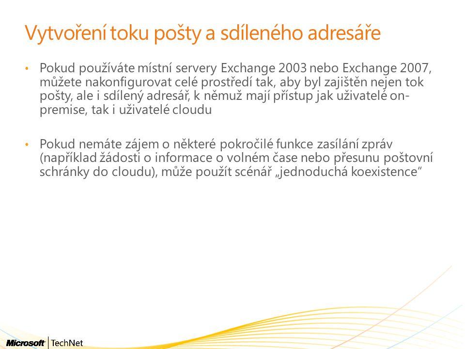 """Vytvoření toku pošty a sdíleného adresáře • Pokud používáte místní servery Exchange 2003 nebo Exchange 2007, můžete nakonfigurovat celé prostředí tak, aby byl zajištěn nejen tok pošty, ale i sdílený adresář, k němuž mají přístup jak uživatelé on- premise, tak i uživatelé cloudu • Pokud nemáte zájem o některé pokročilé funkce zasílání zpráv (například žádosti o informace o volném čase nebo přesunu poštovní schránky do cloudu), může použít scénář """"jednoduchá koexistence"""