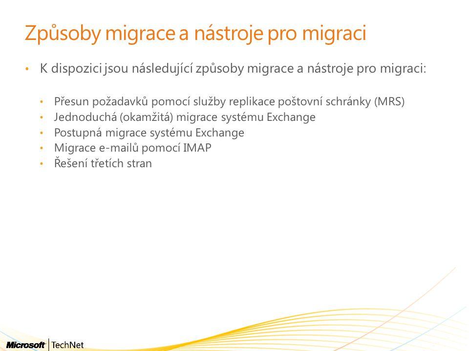 Způsoby migrace a nástroje pro migraci • K dispozici jsou následující způsoby migrace a nástroje pro migraci: • Přesun požadavků pomocí služby replikace poštovní schránky (MRS) • Jednoduchá (okamžitá) migrace systému Exchange • Postupná migrace systému Exchange • Migrace e-mailů pomocí IMAP • Řešení třetích stran