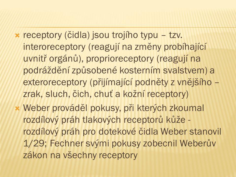  receptory (čidla) jsou trojího typu – tzv.