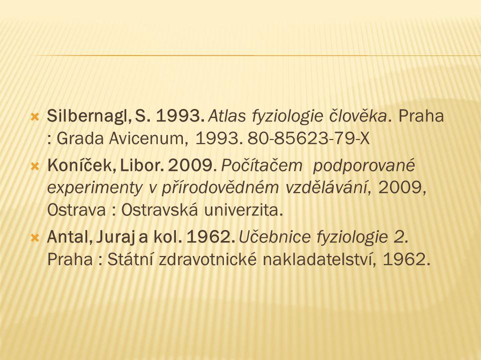  Silbernagl, S.1993. Atlas fyziologie člověka. Praha : Grada Avicenum, 1993.