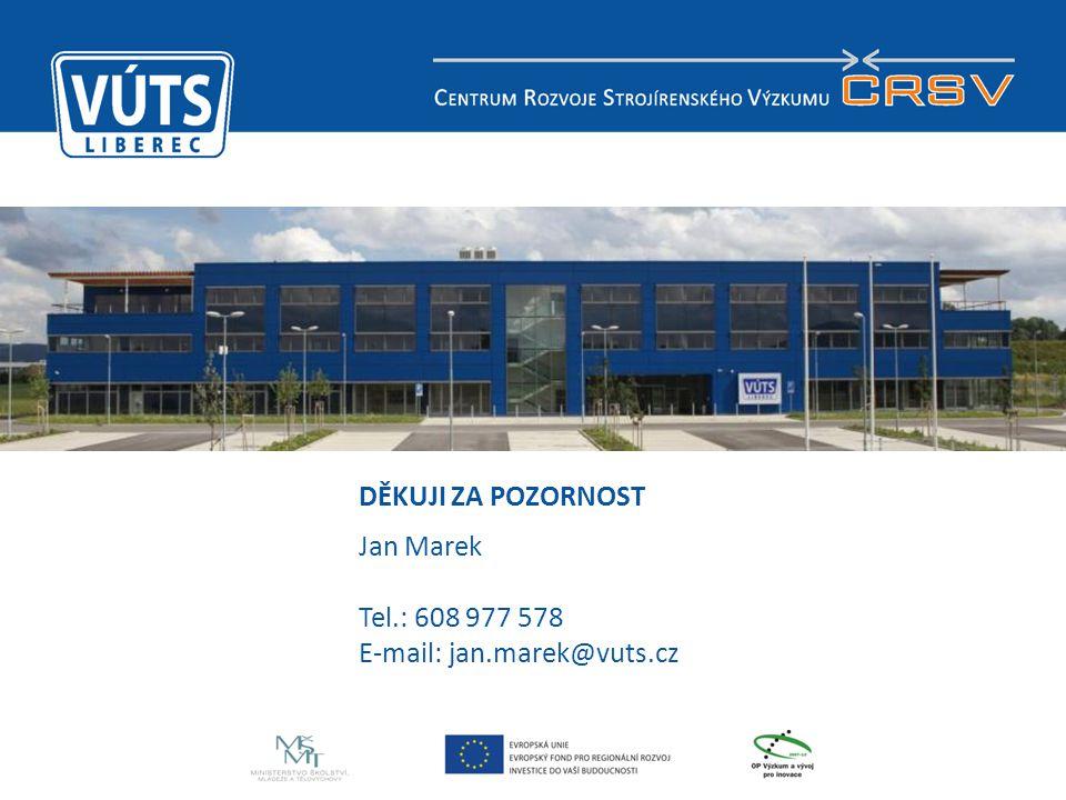 15 DĚKUJI ZA POZORNOST Jan Marek Tel.: 608 977 578 E-mail: jan.marek@vuts.cz