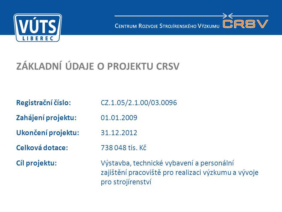 2 ZÁKLADNÍ ÚDAJE O PROJEKTU CRSV Registrační číslo:CZ.1.05/2.1.00/03.0096 Zahájení projektu: 01.01.2009 Ukončení projektu:31.12.2012 Celková dotace: 7