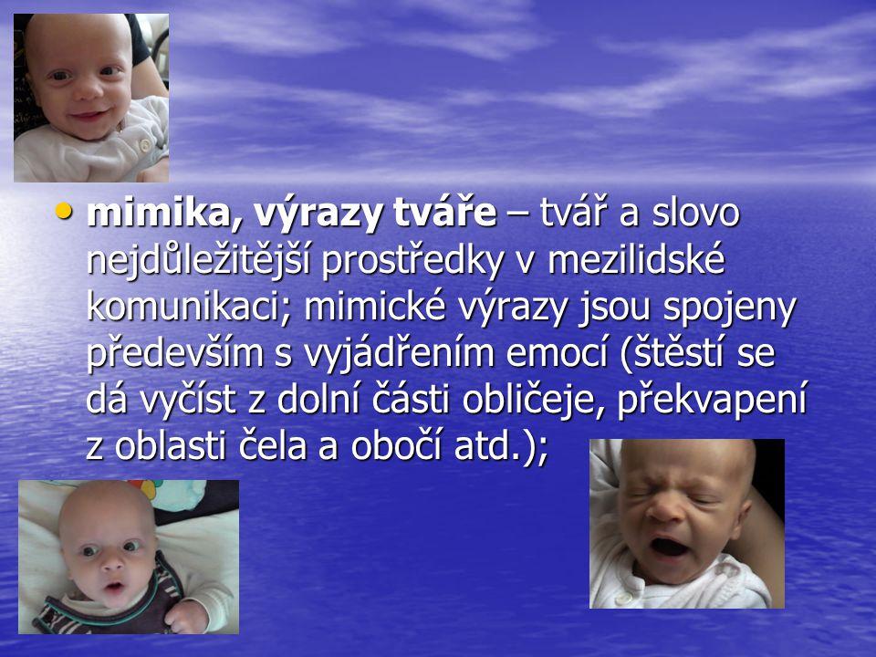 • mimika, výrazy tváře – tvář a slovo nejdůležitější prostředky v mezilidské komunikaci; mimické výrazy jsou spojeny především s vyjádřením emocí (ště