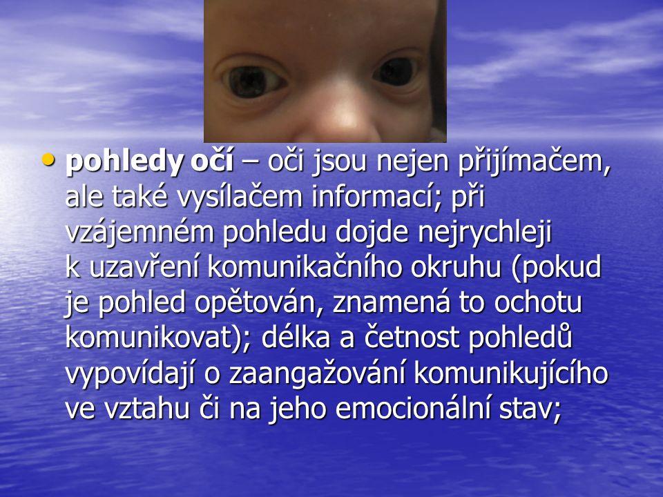 • pohledy očí – oči jsou nejen přijímačem, ale také vysílačem informací; při vzájemném pohledu dojde nejrychleji k uzavření komunikačního okruhu (poku