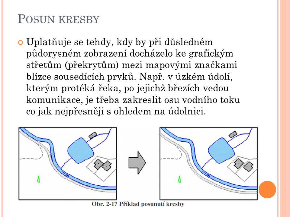 P OSUN KRESBY Uplatňuje se tehdy, kdy by při důsledném půdorysném zobrazení docházelo ke grafickým střetům (překrytům) mezi mapovými značkami blízce s