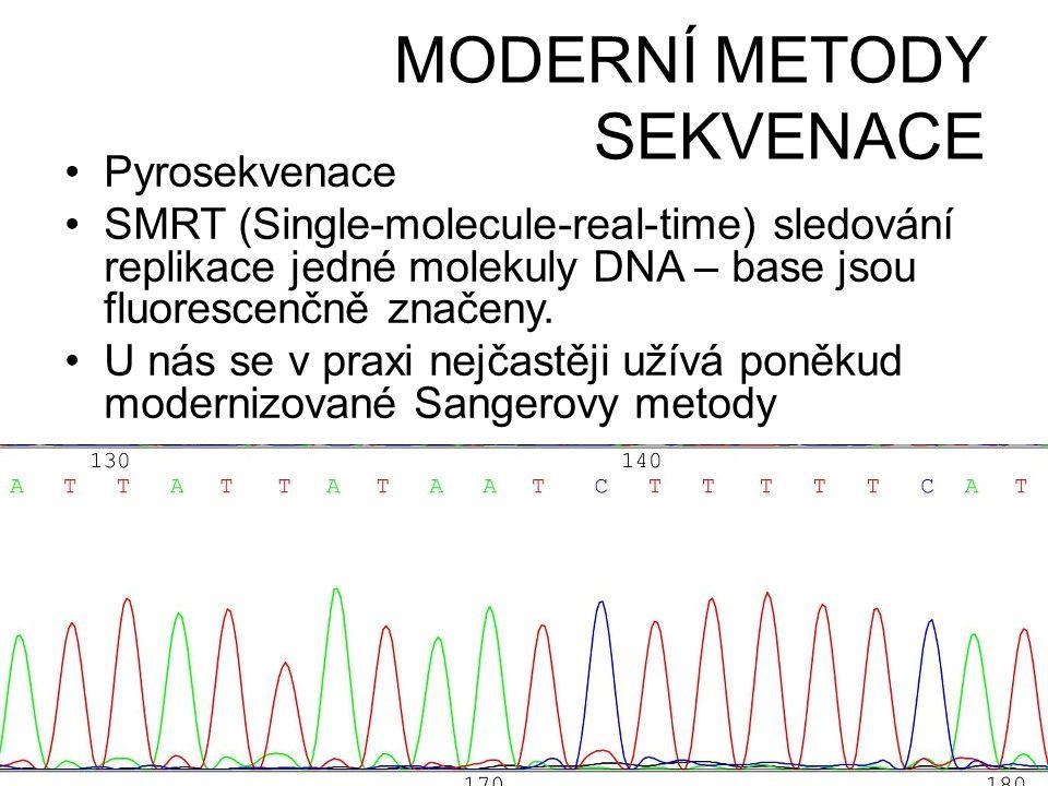MODERNÍ METODY SEKVENACE •Pyrosekvenace •SMRT (Single-molecule-real-time) sledování replikace jedné molekuly DNA – base jsou fluorescenčně značeny. •U