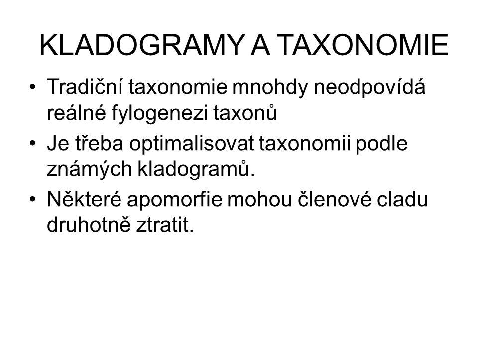 KLADOGRAMY A TAXONOMIE •Tradiční taxonomie mnohdy neodpovídá reálné fylogenezi taxonů •Je třeba optimalisovat taxonomii podle známých kladogramů. •Něk