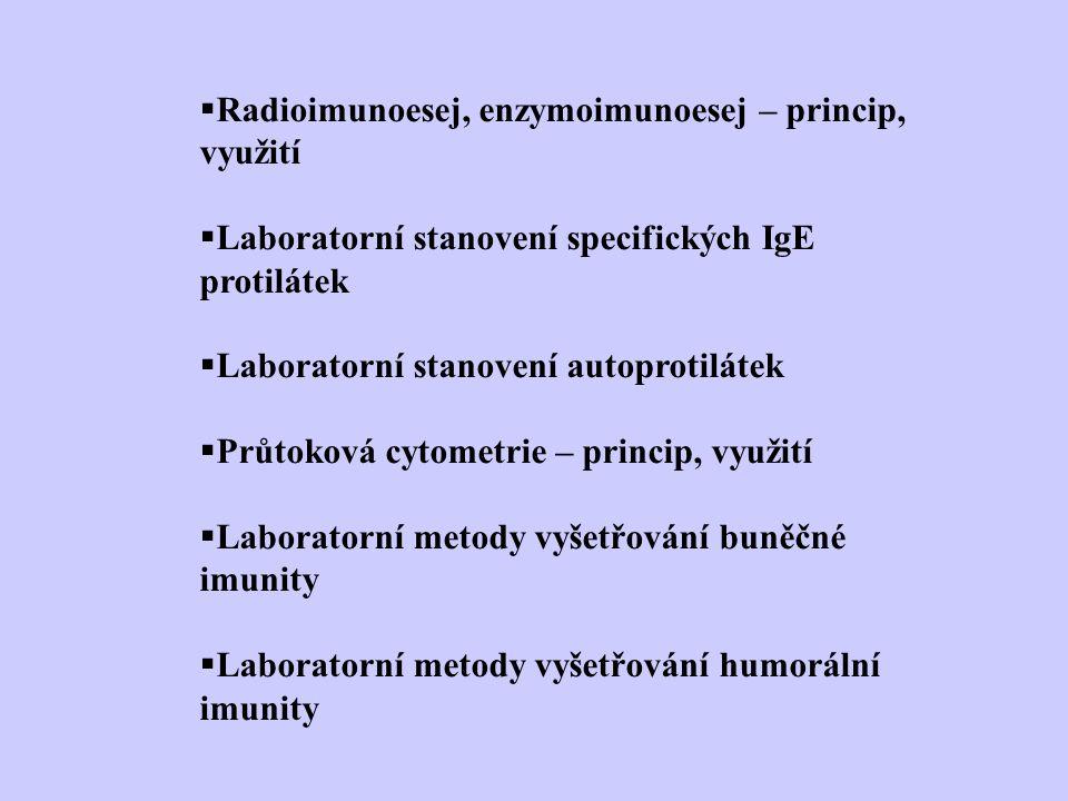 Radioimunoesej, enzymoimunoesej – princip, využití  Laboratorní stanovení specifických IgE protilátek  Laboratorní stanovení autoprotilátek  Průtoková cytometrie – princip, využití  Laboratorní metody vyšetřování buněčné imunity  Laboratorní metody vyšetřování humorální imunity