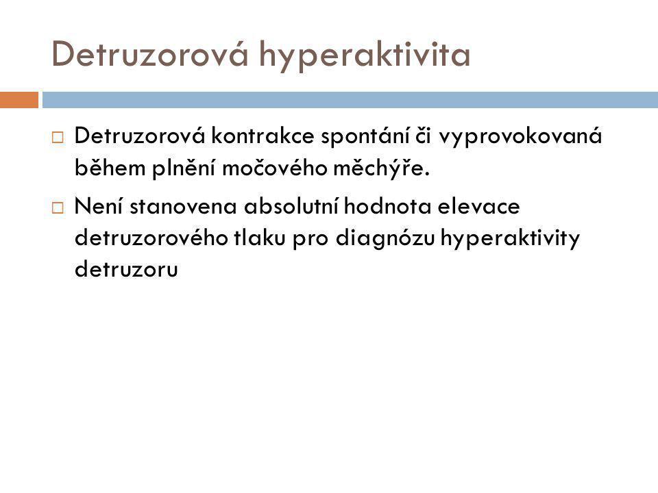 Detruzorová hyperaktivita  Detruzorová kontrakce spontání či vyprovokovaná během plnění močového měchýře.  Není stanovena absolutní hodnota elevace