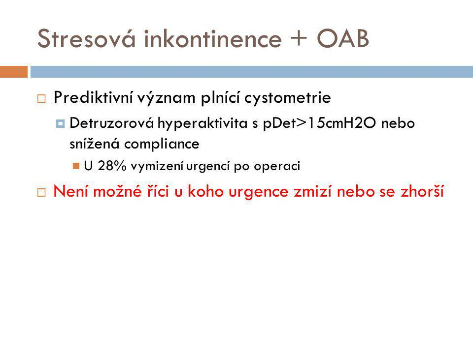 Stresová inkontinence + OAB  Prediktivní význam plnící cystometrie  Detruzorová hyperaktivita s pDet>15cmH2O nebo snížená compliance  U 28% vymizen
