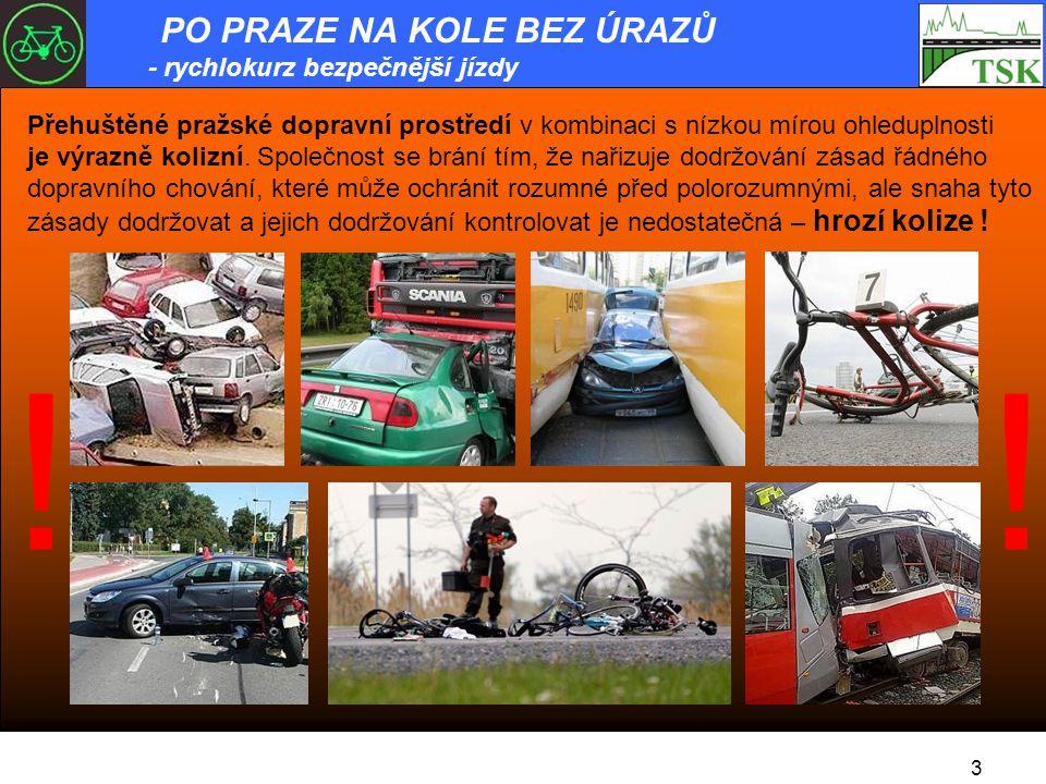 Přehuštěné pražské dopravní prostředí v kombinaci s nízkou mírou ohleduplnosti je výrazně kolizní.