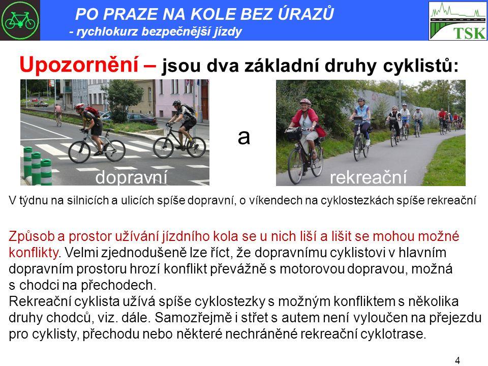 4 Upozornění – jsou dva základní druhy cyklistů: a dopravnírekreační V týdnu na silnicích a ulicích spíše dopravní, o víkendech na cyklostezkách spíše rekreační Způsob a prostor užívání jízdního kola se u nich liší a lišit se mohou možné konflikty.