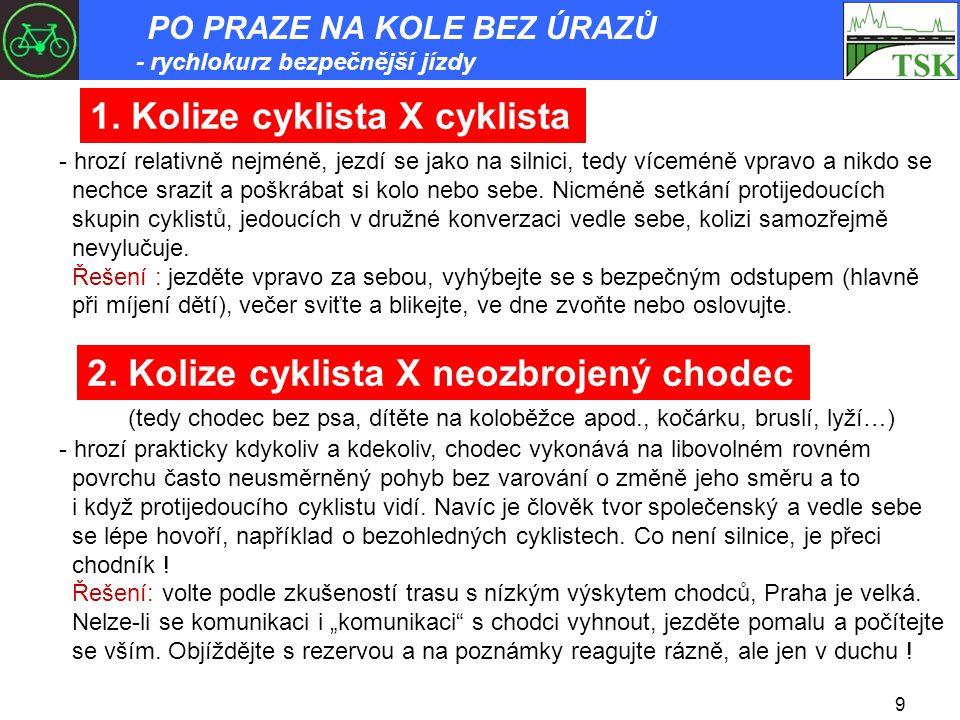 9 1. Kolize cyklista X cyklista - hrozí relativně nejméně, jezdí se jako na silnici, tedy víceméně vpravo a nikdo se nechce srazit a poškrábat si kolo