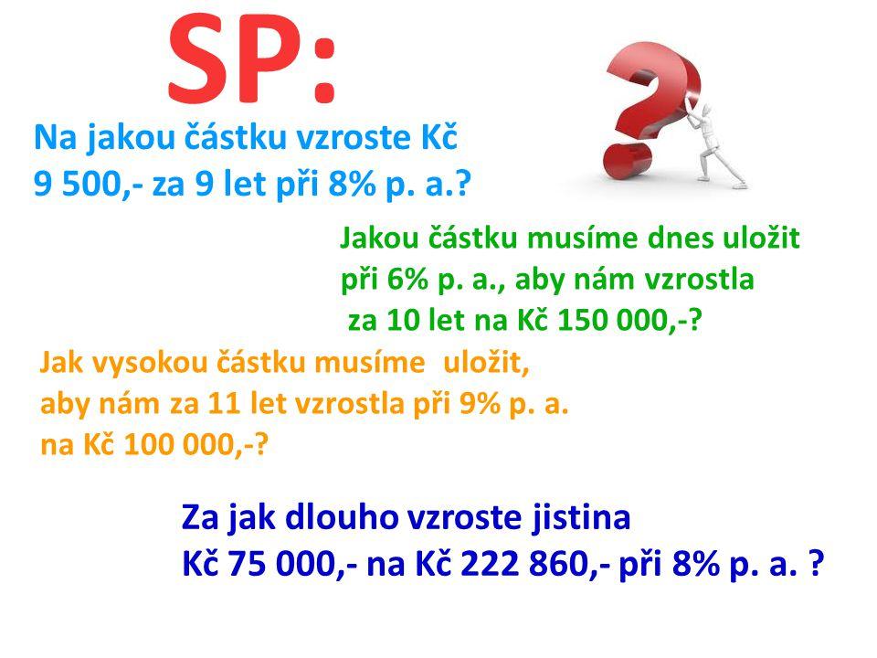 SP: Na jakou částku vzroste Kč 9 500,- za 9 let při 8% p.