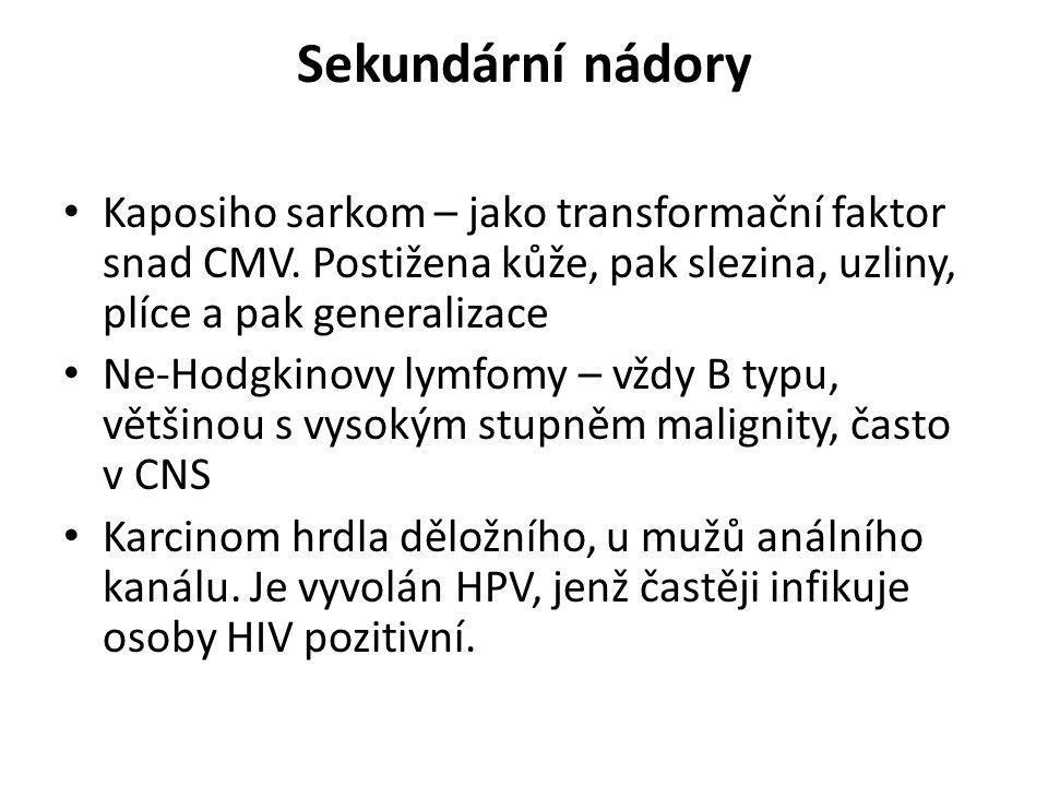 Sekundární nádory • Kaposiho sarkom – jako transformační faktor snad CMV. Postižena kůže, pak slezina, uzliny, plíce a pak generalizace • Ne-Hodgkinov