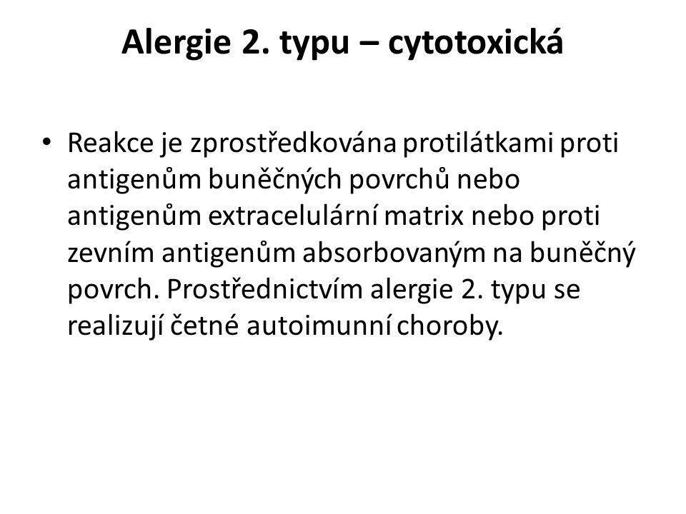 Alergie 2. typu – cytotoxická • Reakce je zprostředkována protilátkami proti antigenům buněčných povrchů nebo antigenům extracelulární matrix nebo pro