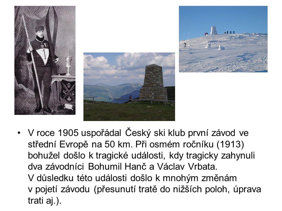 •V roce 1905 uspořádal Český ski klub první závod ve střední Evropě na 50 km. Při osmém ročníku (1913) bohužel došlo k tragické události, kdy tragicky