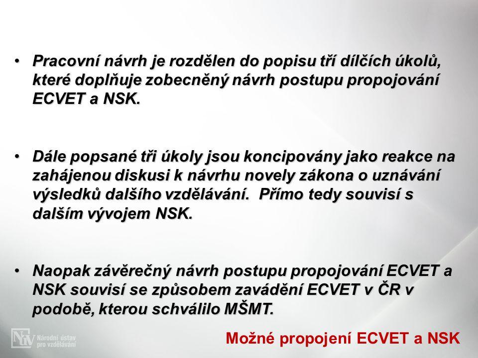 •Pracovní návrh je rozdělen do popisu tří dílčích úkolů, které doplňuje zobecněný návrh postupu propojování ECVET a NSK. •Dále popsané tři úkoly jsou