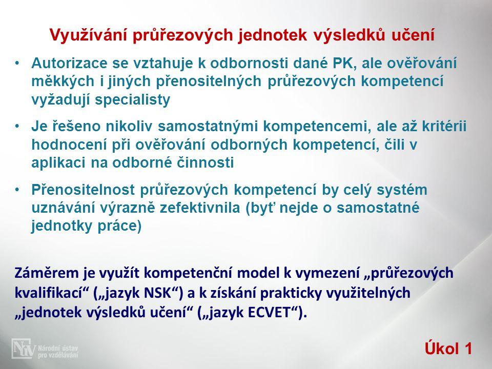 Využívání průřezových jednotek výsledků učení •Autorizace se vztahuje k odbornosti dané PK, ale ověřování měkkých i jiných přenositelných průřezových