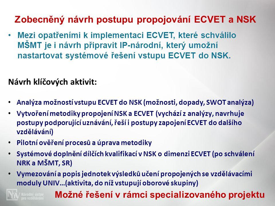 Zobecněný návrh postupu propojování ECVET a NSK •Mezi opatřeními k implementaci ECVET, které schválilo MŠMT je i návrh připravit IP-národní, který umo