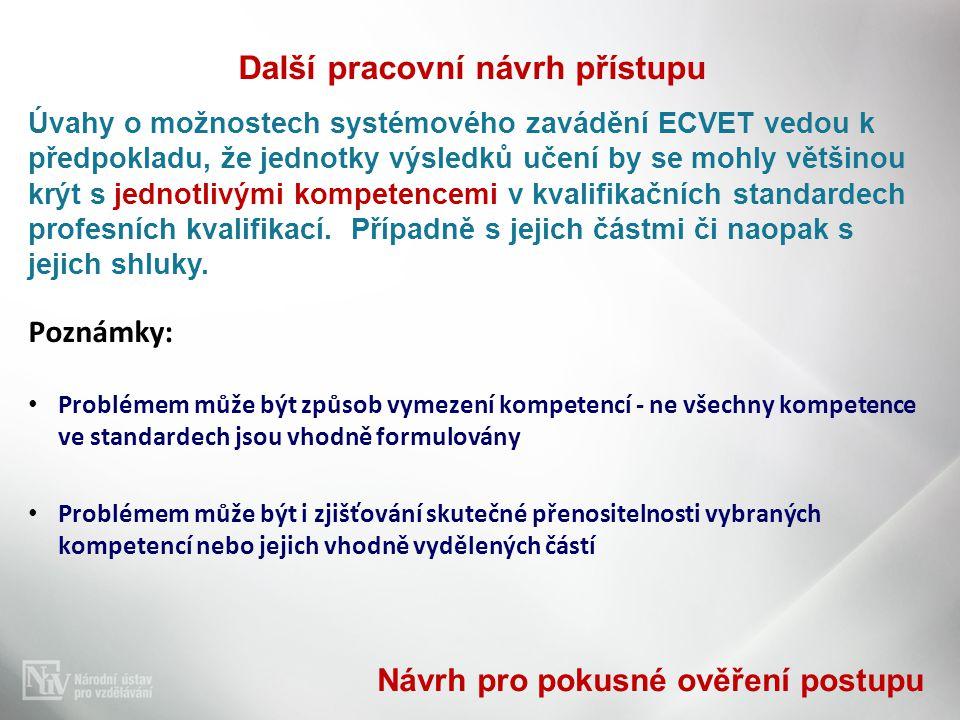 Další pracovní návrh přístupu Úvahy o možnostech systémového zavádění ECVET vedou k předpokladu, že jednotky výsledků učení by se mohly většinou krýt