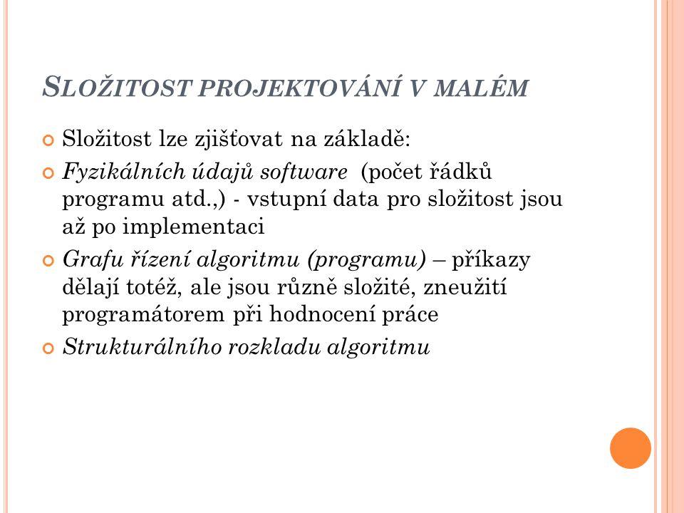 S LOŽITOST PROJEKTOVÁNÍ V MALÉM Složitost lze zjišťovat na základě: Fyzikálních údajů software (počet řádků programu atd.,) - vstupní data pro složitost jsou až po implementaci Grafu řízení algoritmu (programu) – příkazy dělají totéž, ale jsou různě složité, zneužití programátorem při hodnocení práce Strukturálního rozkladu algoritmu