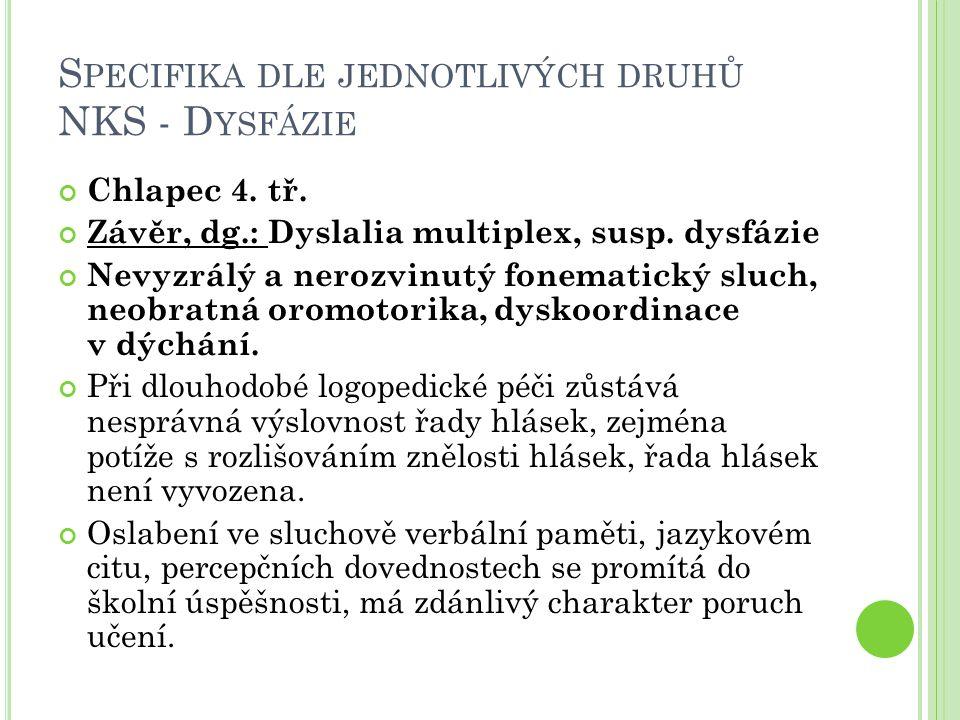 S PECIFIKA DLE JEDNOTLIVÝCH DRUHŮ NKS - D YSFÁZIE Chlapec 4. tř. Závěr, dg.: Dyslalia multiplex, susp. dysfázie Nevyzrálý a nerozvinutý fonematický sl