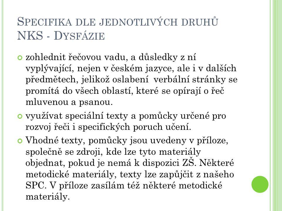 S PECIFIKA DLE JEDNOTLIVÝCH DRUHŮ NKS - D YSFÁZIE zohlednit řečovou vadu, a důsledky z ní vyplývající, nejen v českém jazyce, ale i v dalších předměte