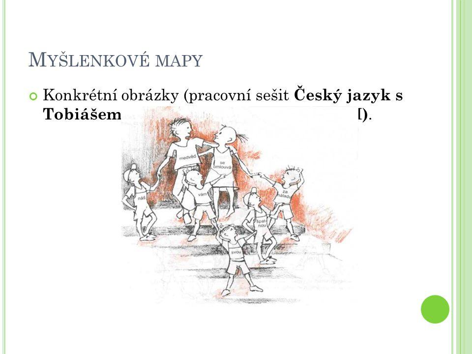 M YŠLENKOVÉ MAPY Konkrétní obrázky (pracovní sešit Český jazyk s Tobiášem) (Skladba, Věta jednoduchá I).