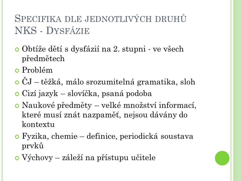 S PECIFIKA DLE JEDNOTLIVÝCH DRUHŮ NKS - D YSFÁZIE Děvče, 7.